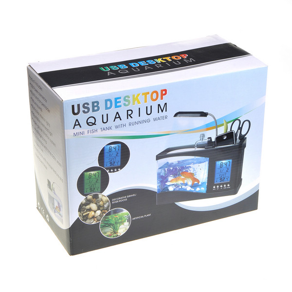 Usb desktop aquarium mini fish tank with running water for Desktop fish tank